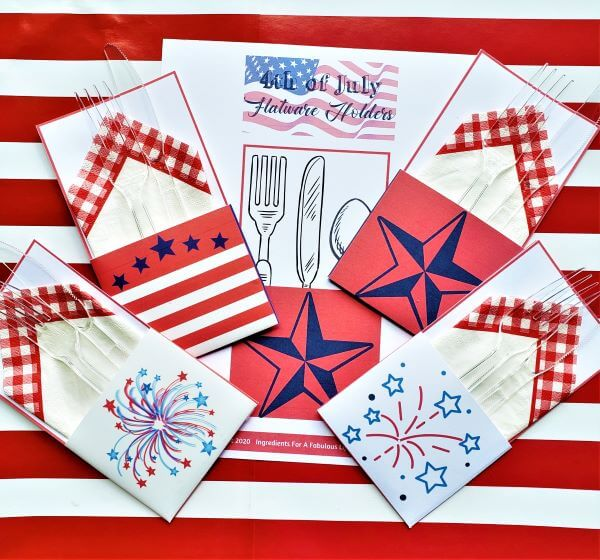 4th of July flatware holders