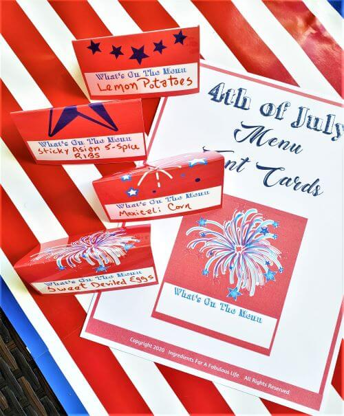 4th of July Menu tent cards