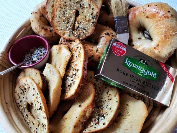 better bagel chips in basket with box of butter