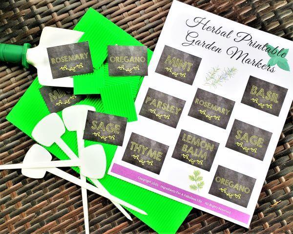 DIY herbal printable garden markers supplies