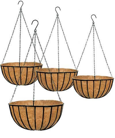 coconut lined hanging baskets