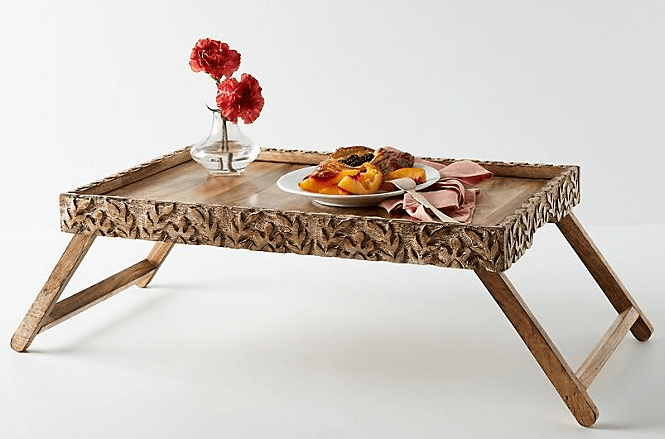 tropical hardwood carved breakfast in bed tray