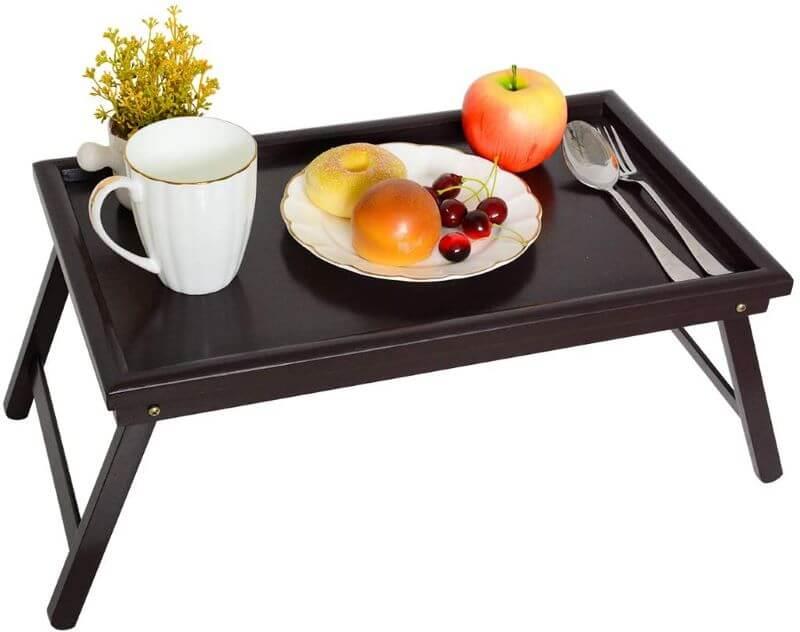 black breakfast tray with folding legs