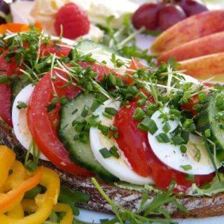 open face breakfast croustade with green goddess sandwich spread