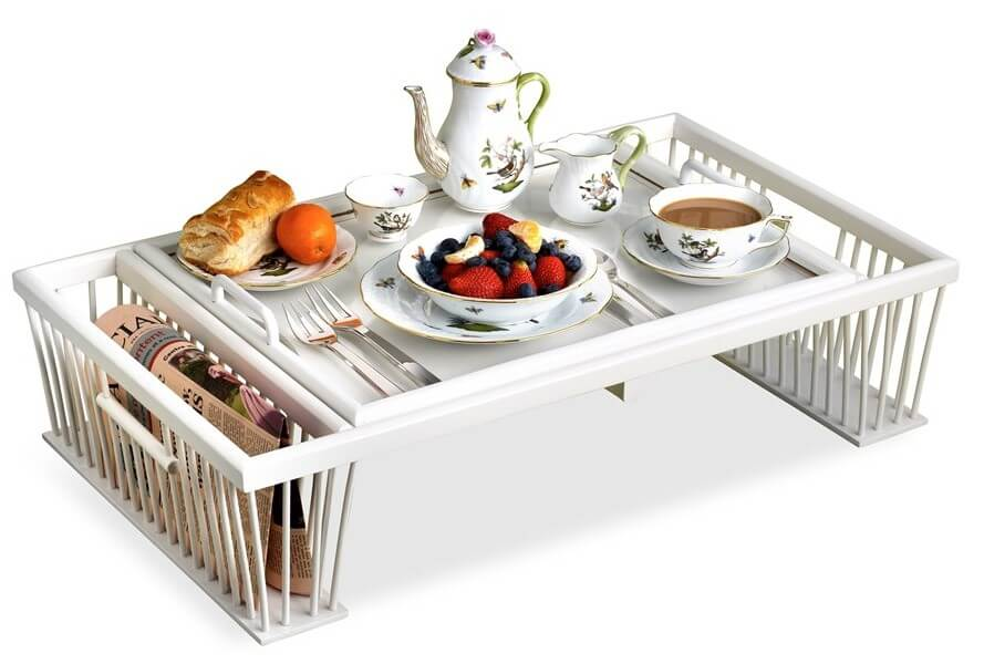 elegant white breakfast in bed tray with food and teapot