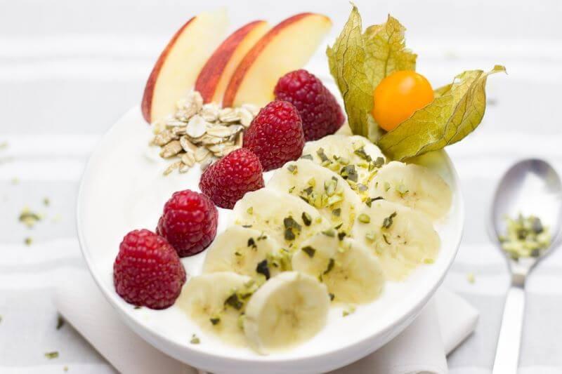 yummy yogurt breakfast parfait with fruit on top