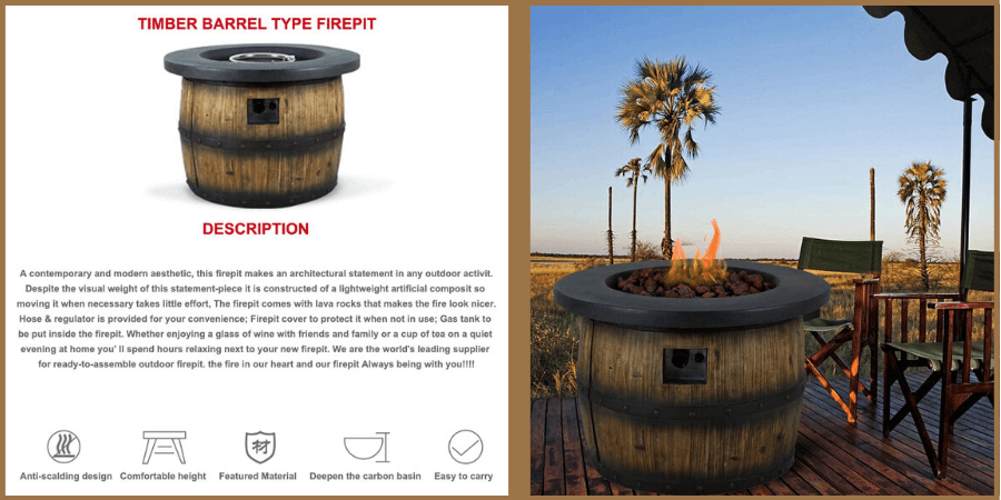 wine barrel fire pit on a tropical porch