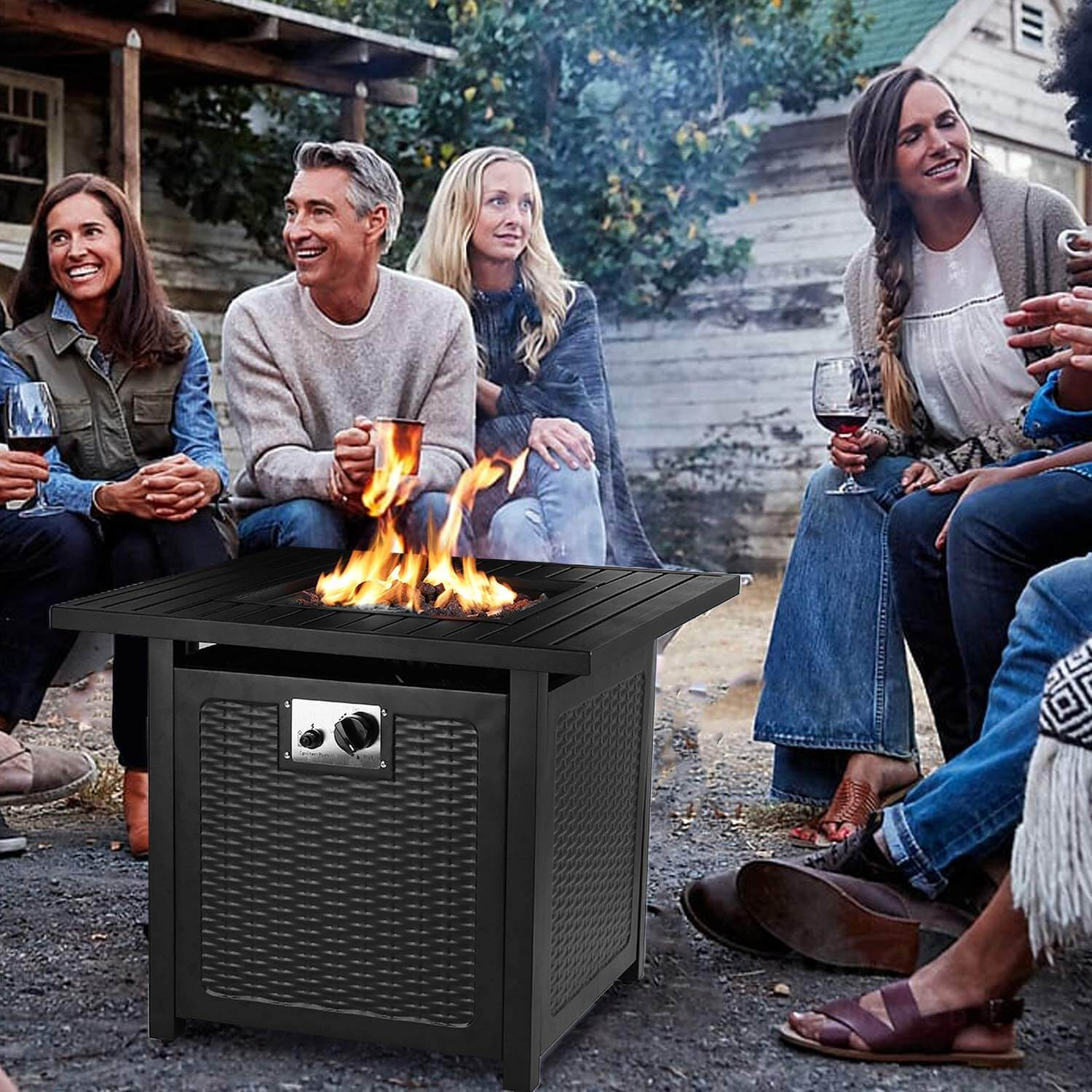 free standing square rattan fire pit with family cooking