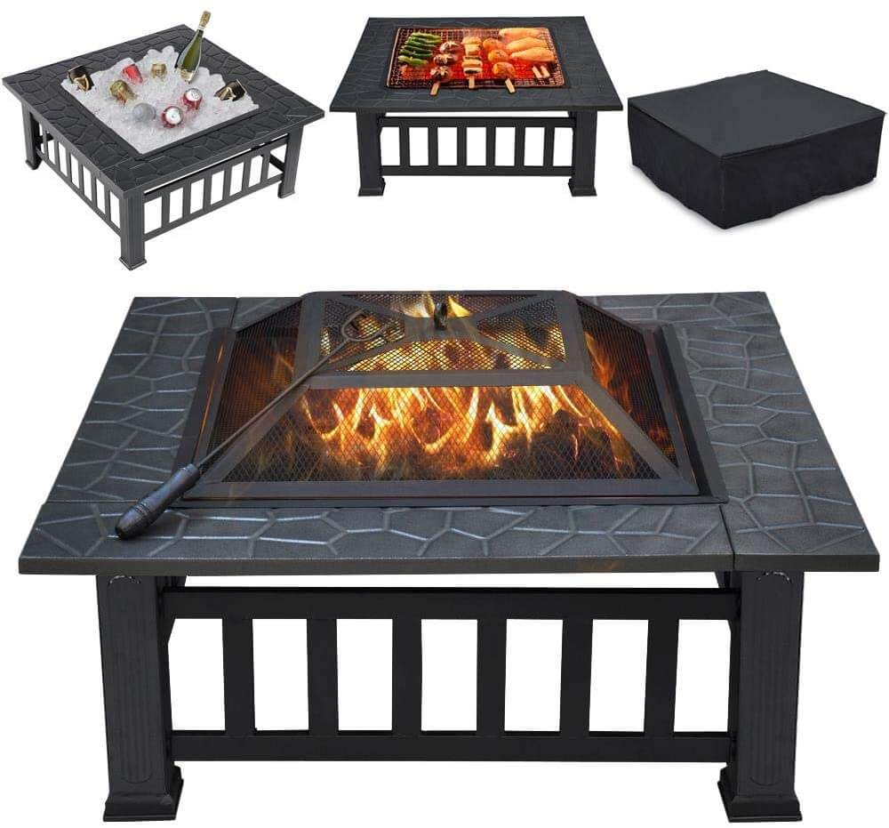 square fire pit with screen top