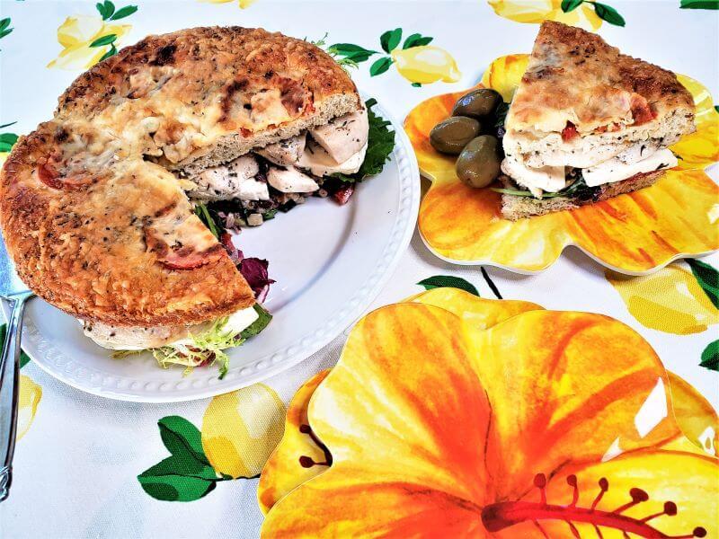 mediterranean chicken focaccia sandwich