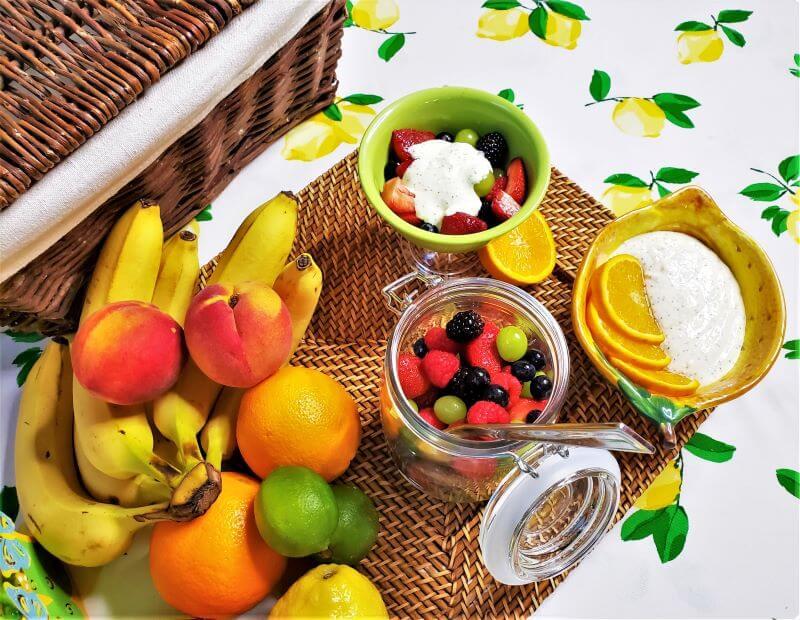 fruit salad with orange poppyseed sauce