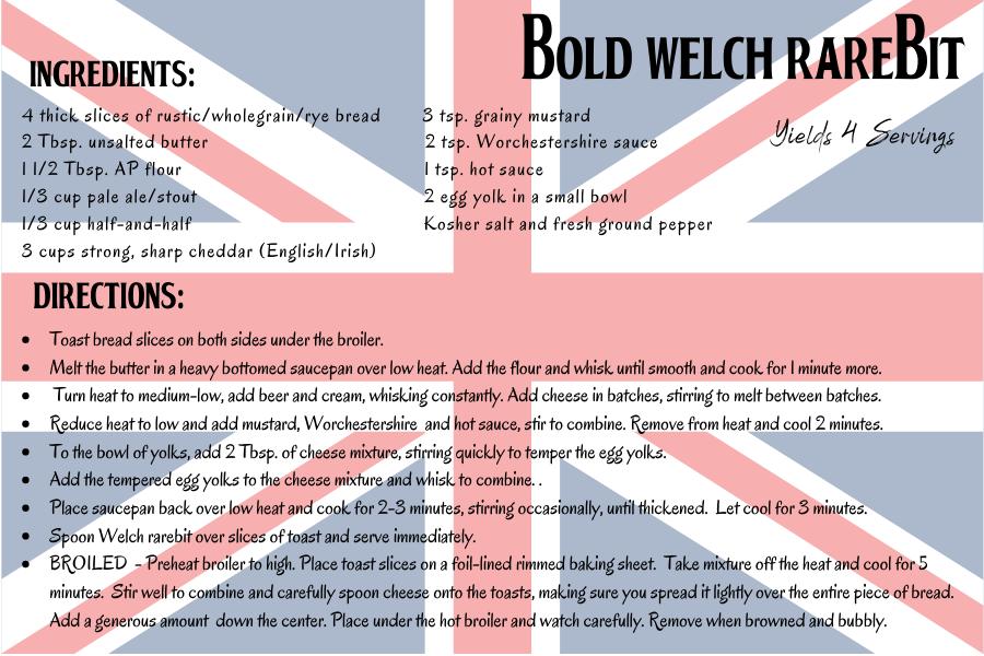 bold Welch rarebit recipe card