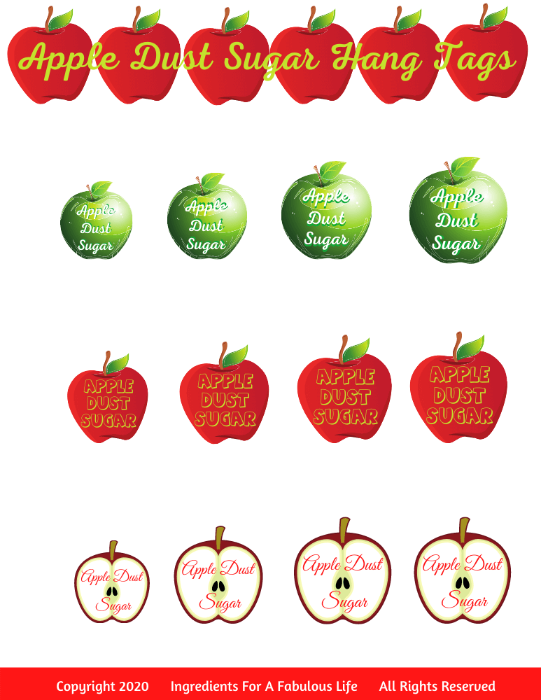 apple dust sugar hang tags