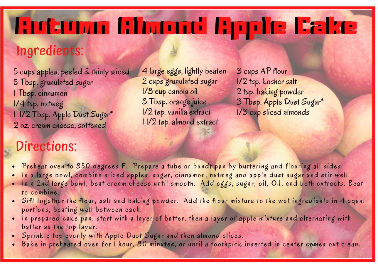 autumn almond apple cake recipe card image