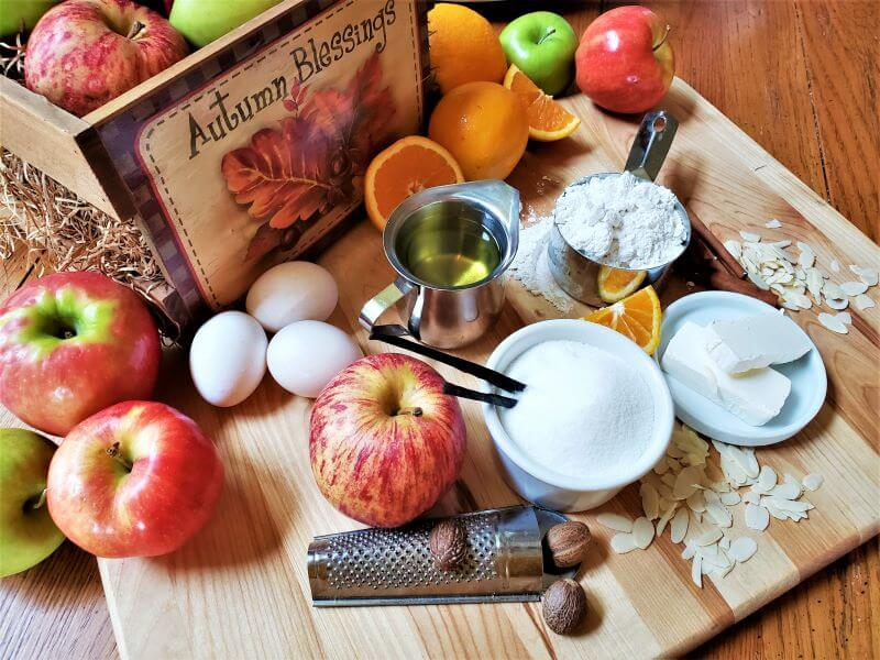 ingredients for autumn almond apple cake