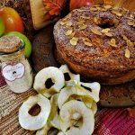 autumn almond apple cake with apple dust sugar