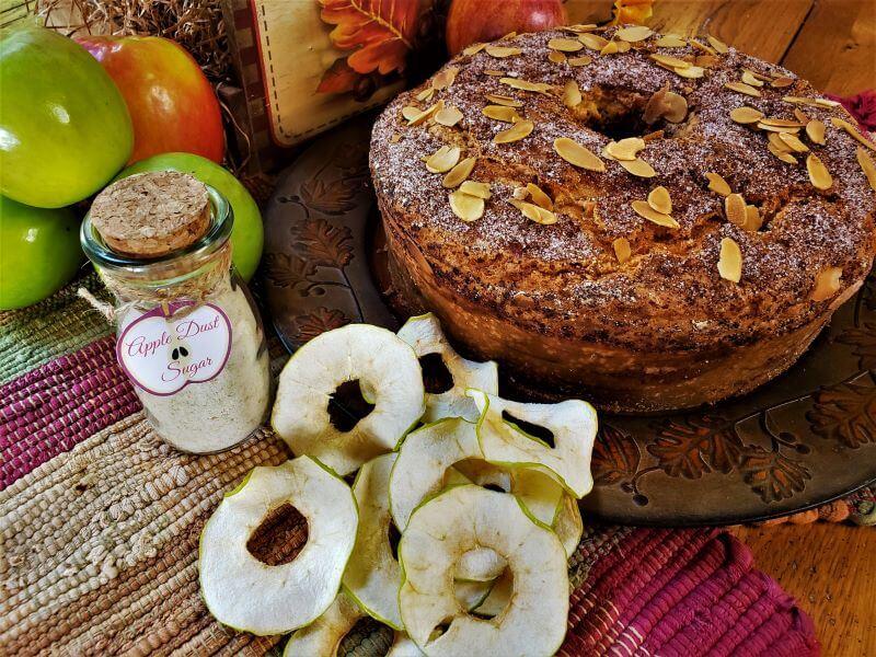 autumn almond apple cake with apple dust sugar