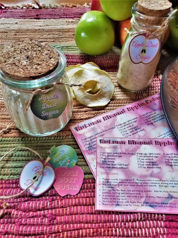 apple dust sugar and autumn almond apple cake recipe card