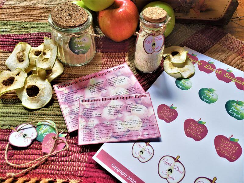 apple dust sugar hang tags and recipe cards