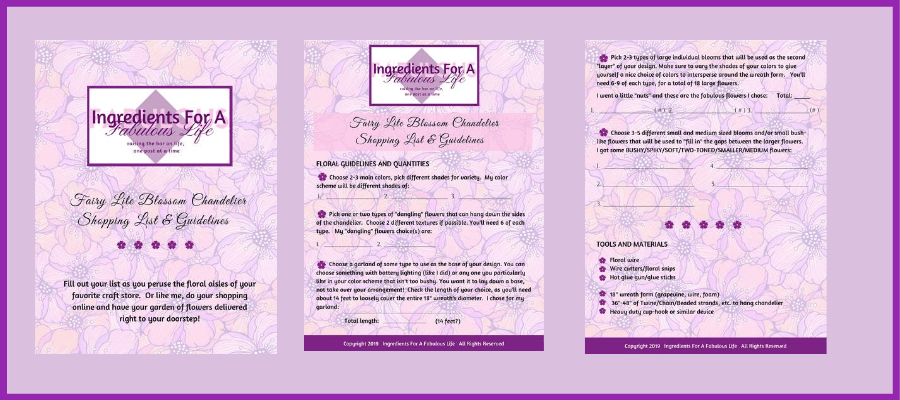 fairy lite blossom chandelier shopping list pdf
