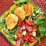 crispy pancetta rice cakes with tomato basil relish