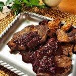 black peppercorn and red wine pan sauce on steak