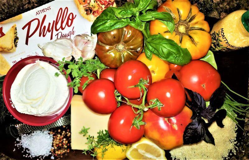rainbow tomato tart ingredients