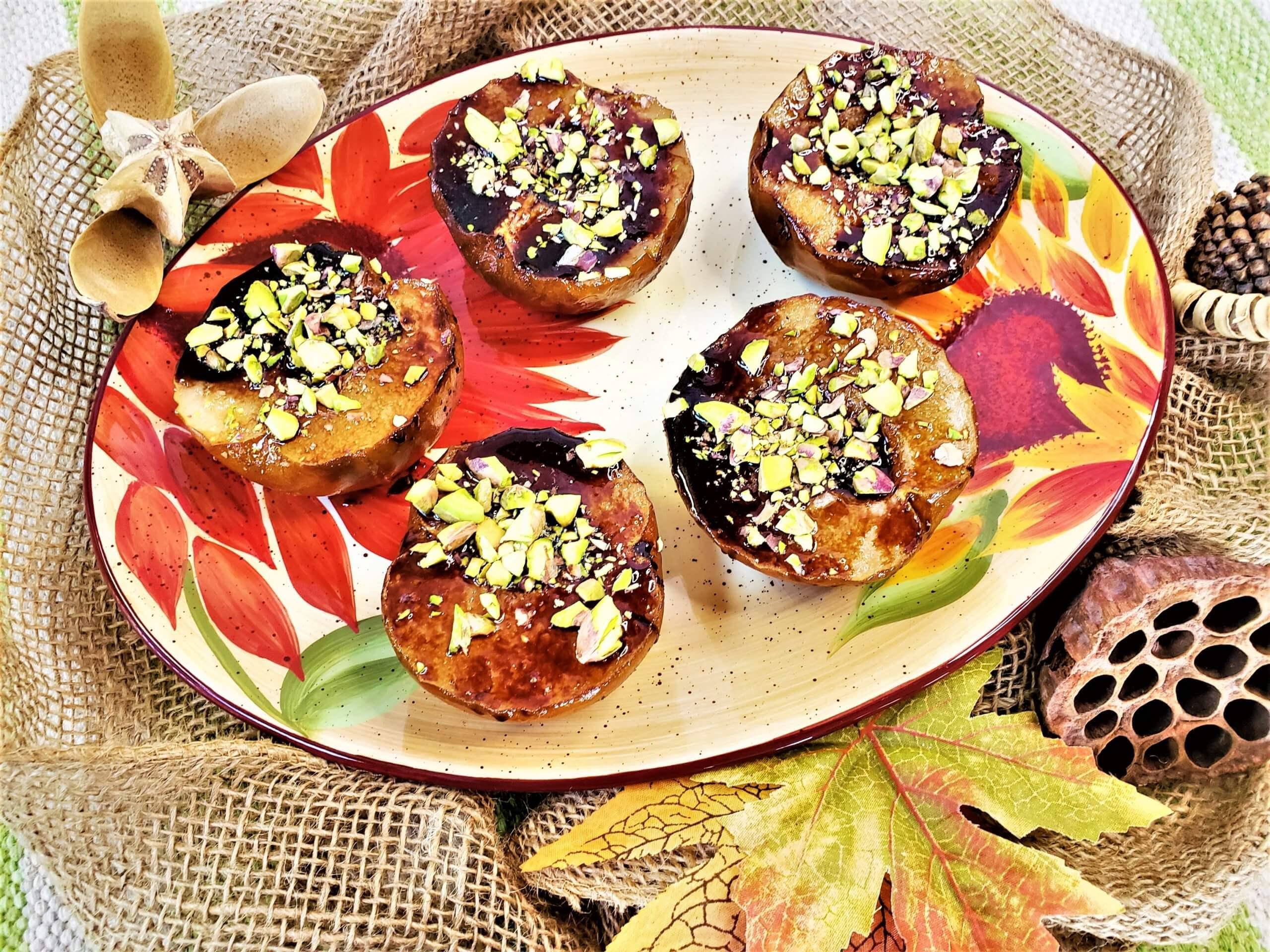 pomegranate glazed roasted asian pears