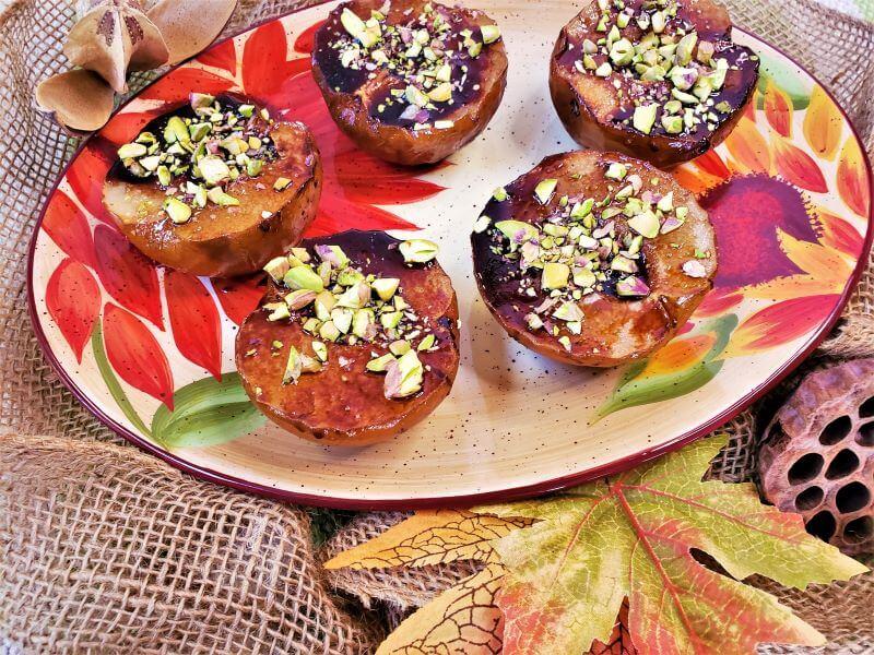 Pomegranate Molasses Glazed Roasted Asian Pears
