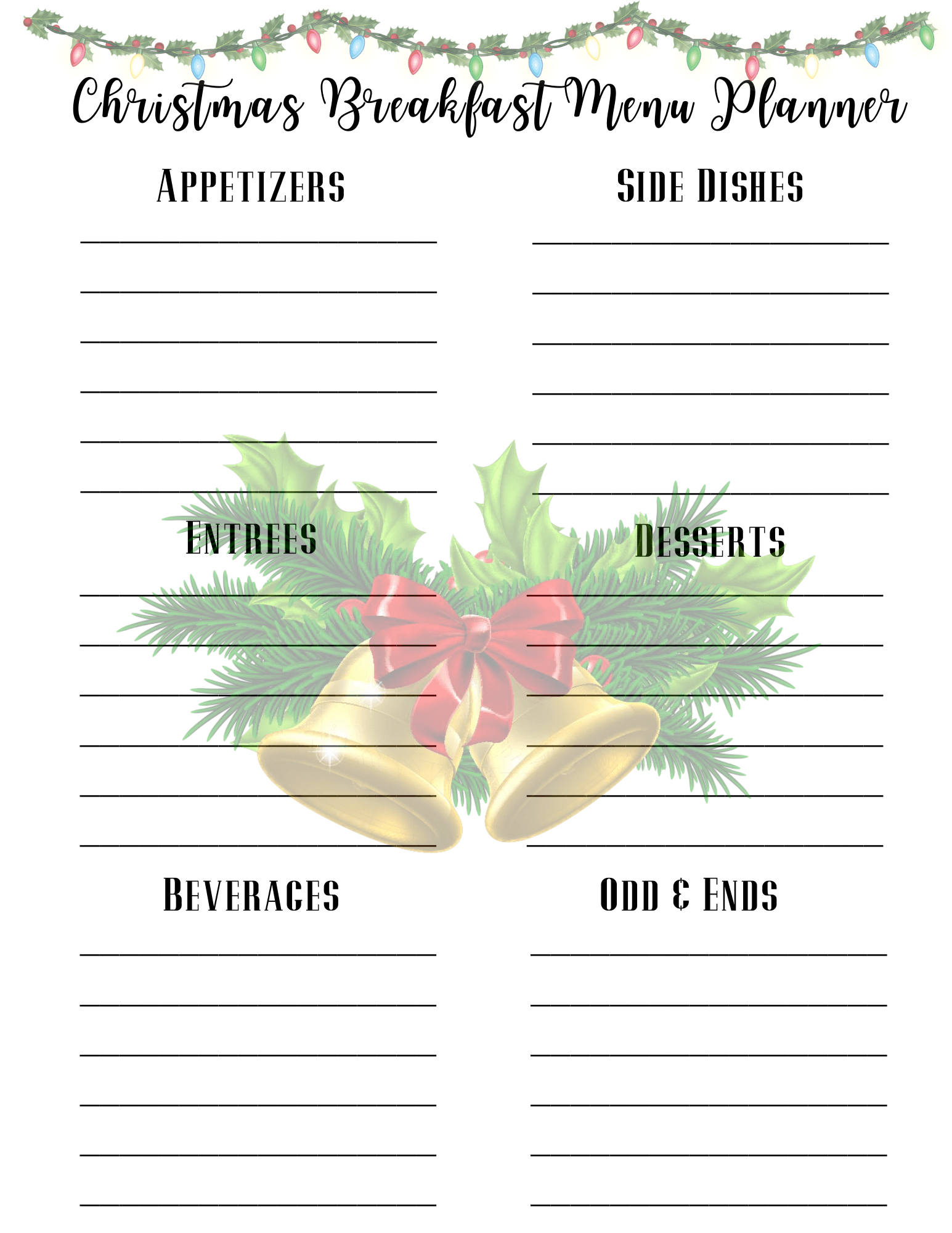 Christmas breakfast menu planner