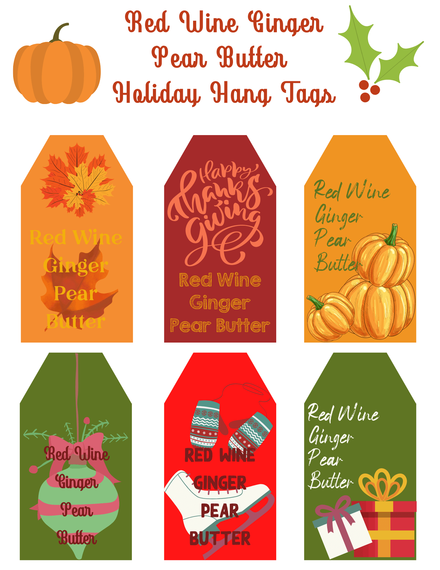 red wine ginger pear butter holiday hang tags