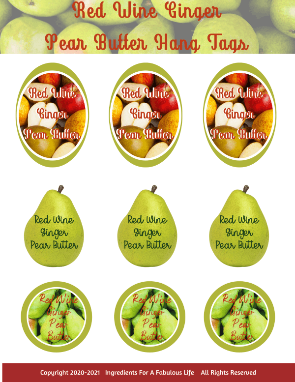 red wine ginger pear butter hang tags
