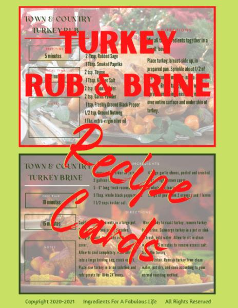recipe cards for turkey rub and brine
