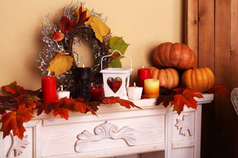 thanksgiving decorations for your fireplace and mantle