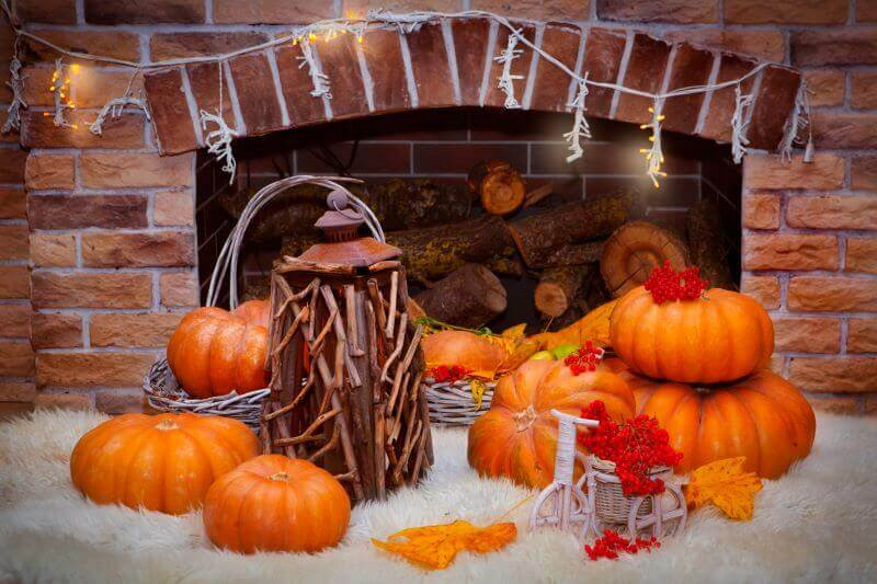 fall decorations for fireplaces and mantles