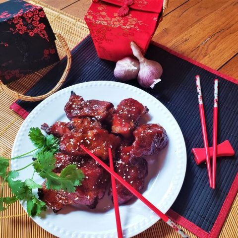 chinese bbq pork on white plate
