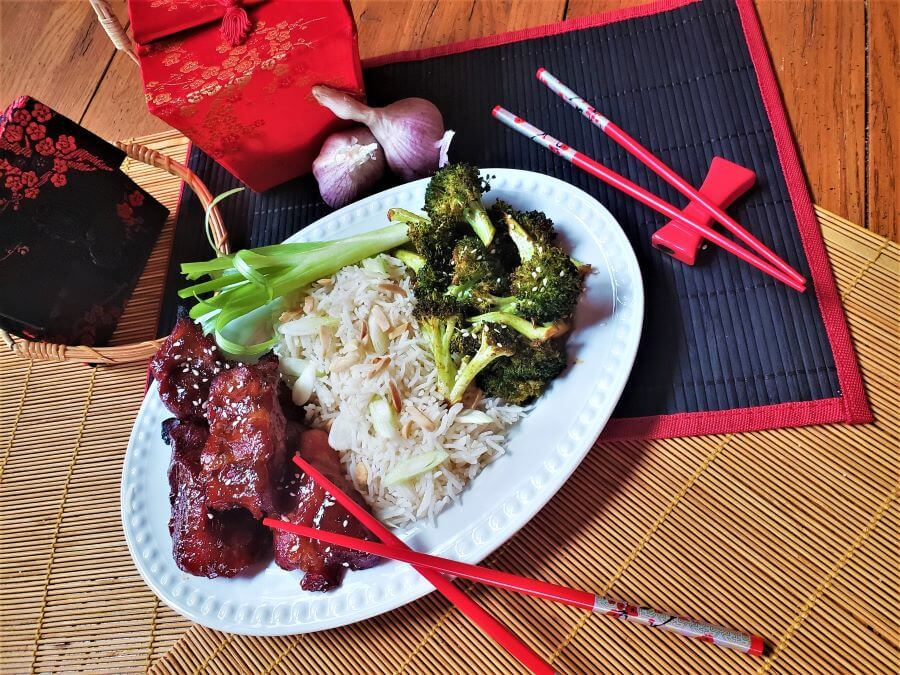 chinese bbq pork with roasted Asian broccoli