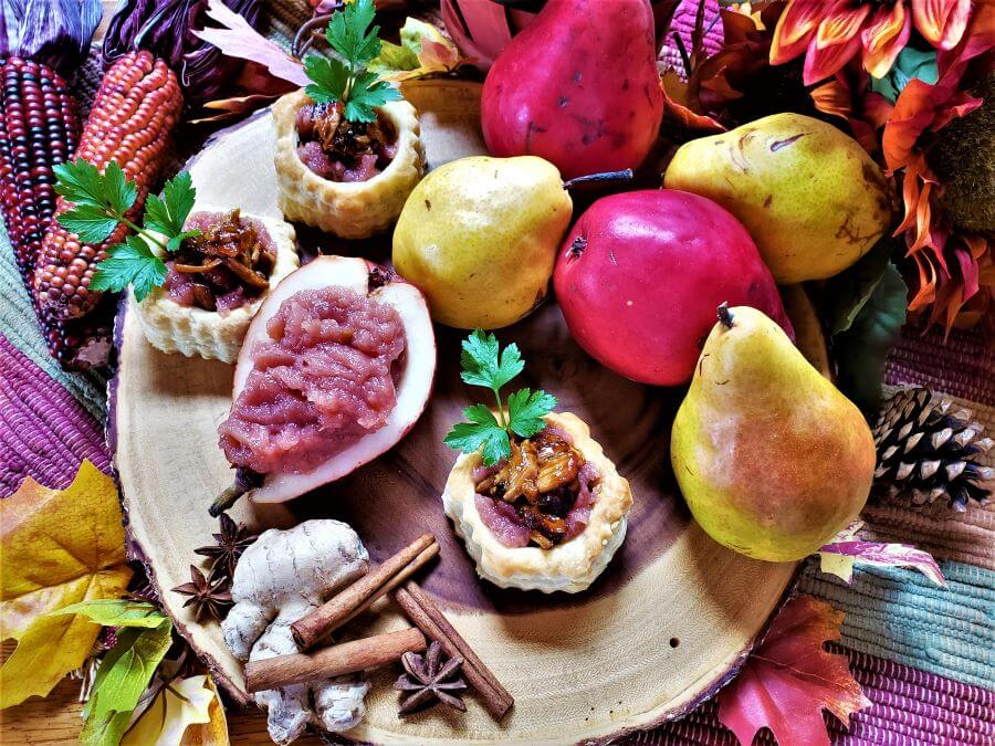 crispy 5 spice pork and rosy pear butter bites