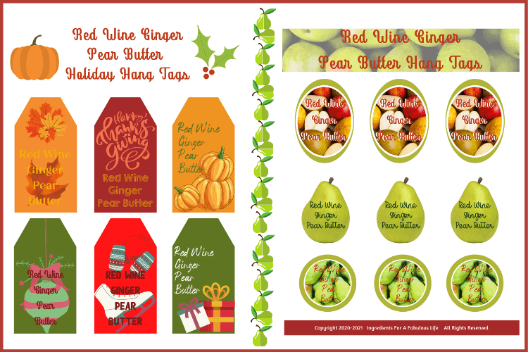 red wine ginger pear butter gift hang tags 2 page graphic