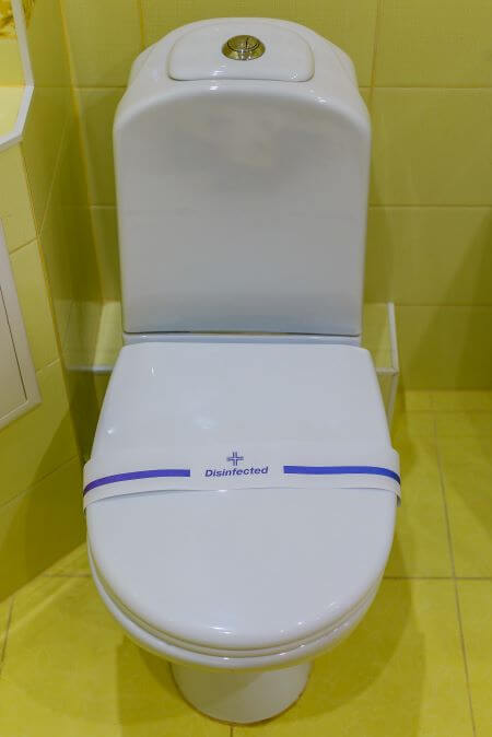 sanitized toilet in hotel during covid 19 outbreak