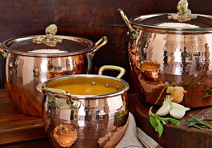 hammered copper stockpots for winter soups