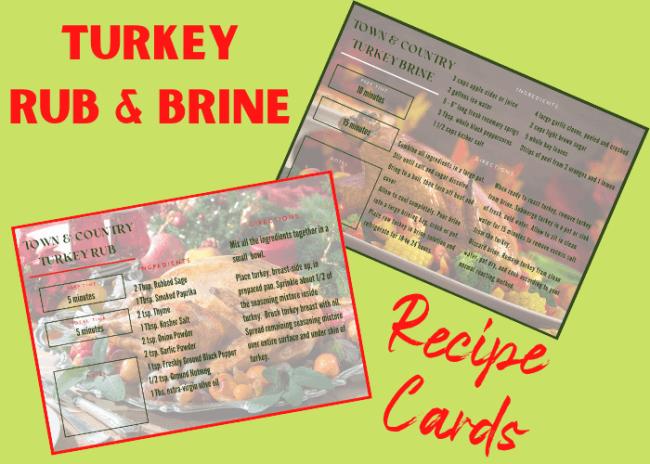 turkey rub and brine recipe card pdf image
