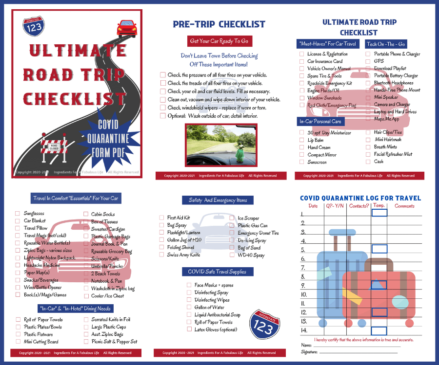 ultimate road trip checklist pages graphic
