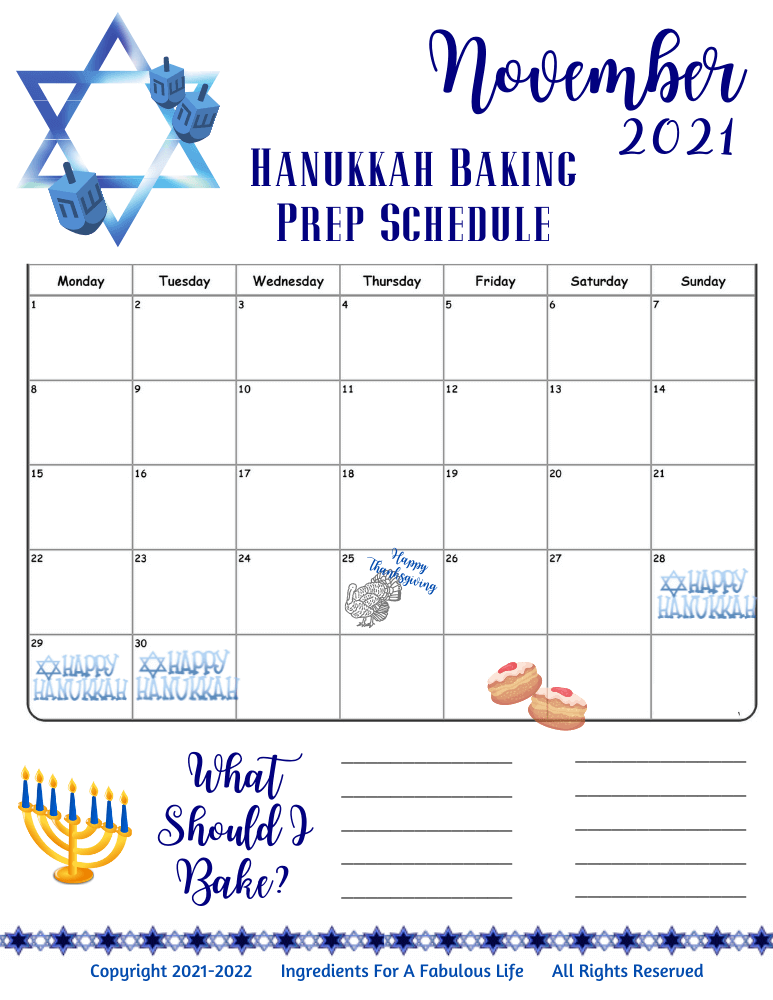hannukah planner pages