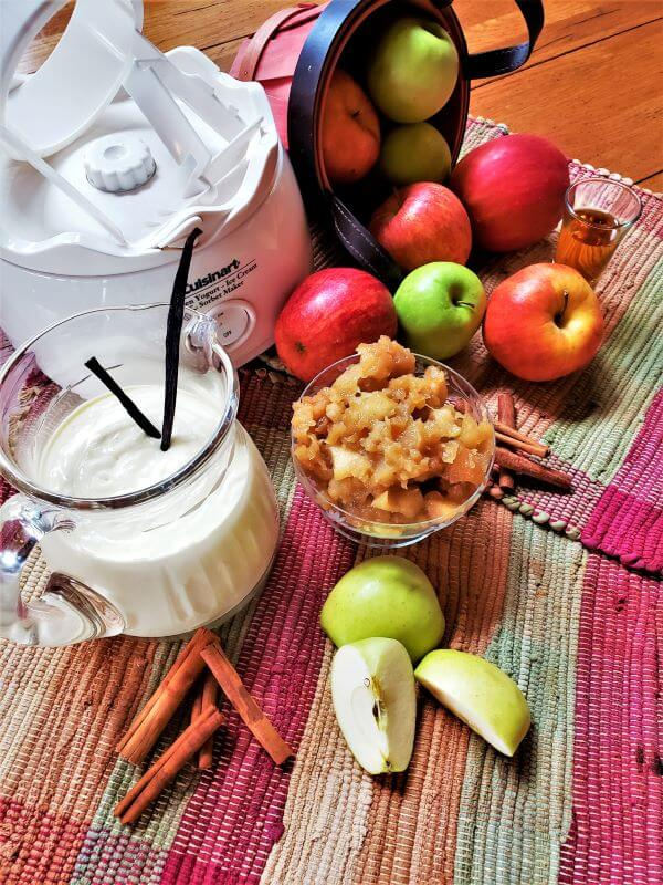 ingredients for brandied apple ice cream