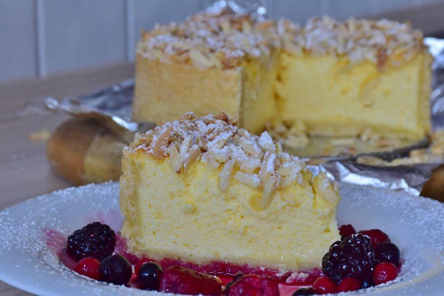 italian style cheesecake with almonds