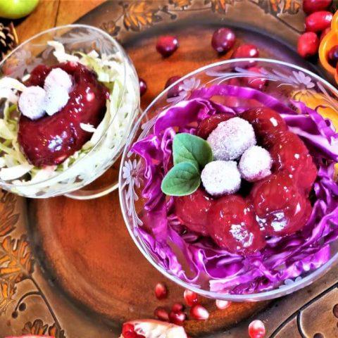 cranberry pomegranate sauce molded into miniature shapes