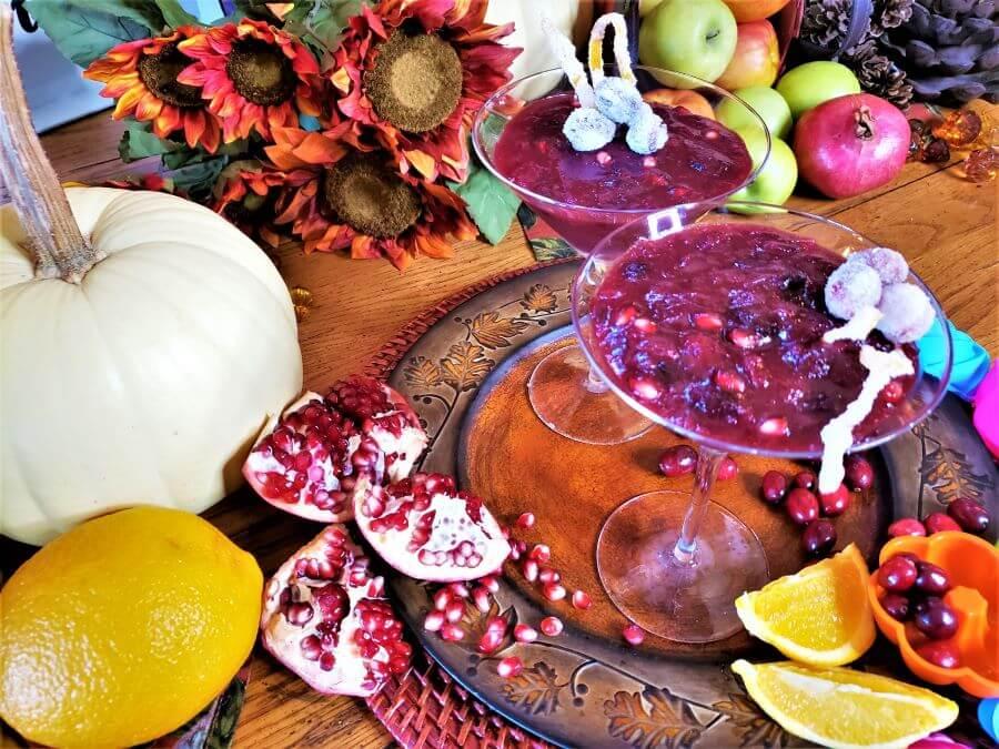 cranberry pomegranate sauce in martini glasses