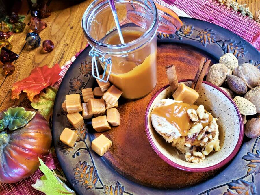 pumpkin streusel ice cream with salted caramel sauce and nuts