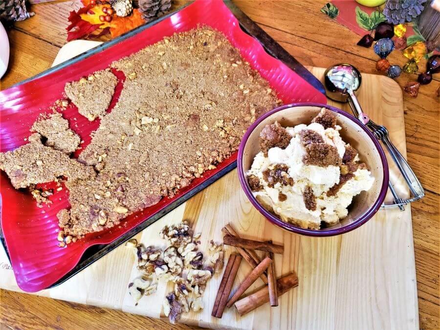 pumpkins streusel ice cream and sheet of streusel in baking pan